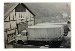 Production hall of Lehnert company with MAN truck, ca. in the 1950s